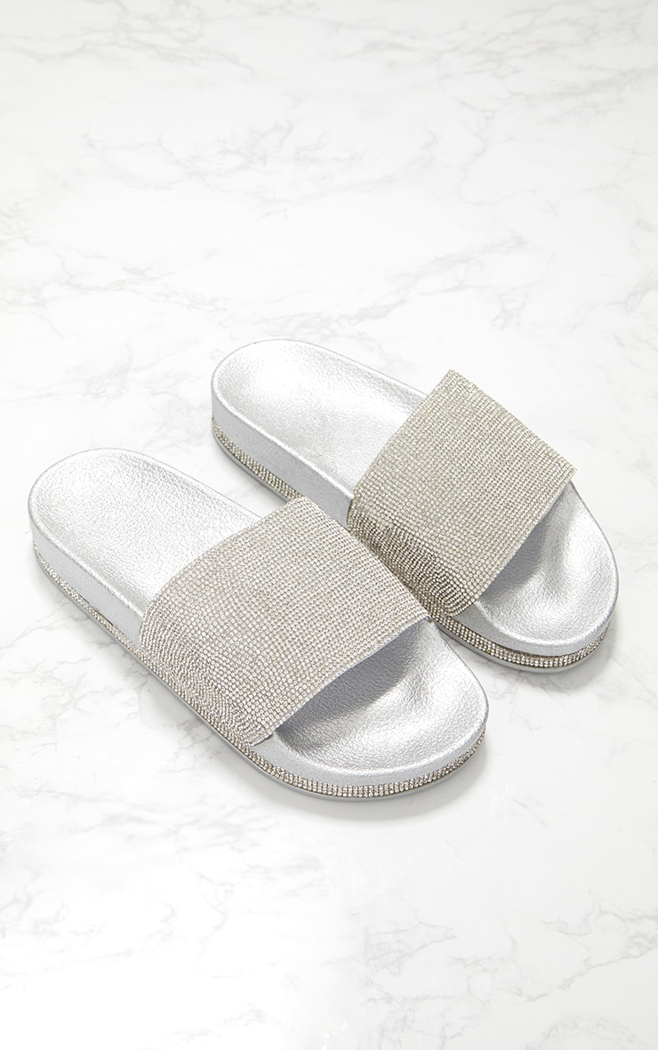 Silver Diamante Embellished Slides 1