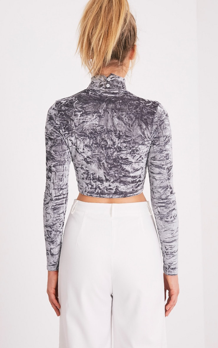 Jenifer Grey Crushed Velvet Cut Out Neck Crop Top 2
