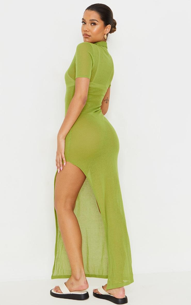Green Sheer Knit Collar Detail Maxi Dress 2