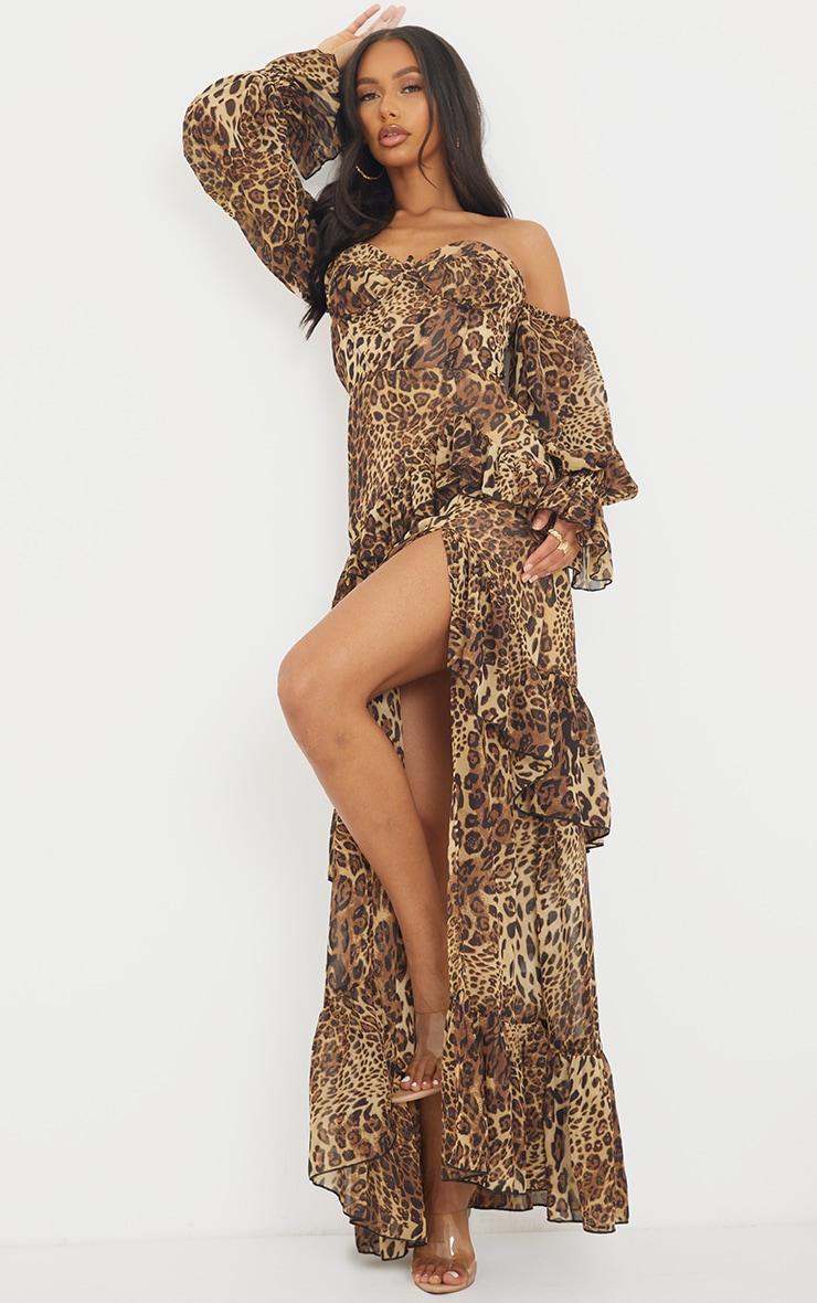 Tan Leopard Bardot Chiffon Cup Detail Maxi Dress 3