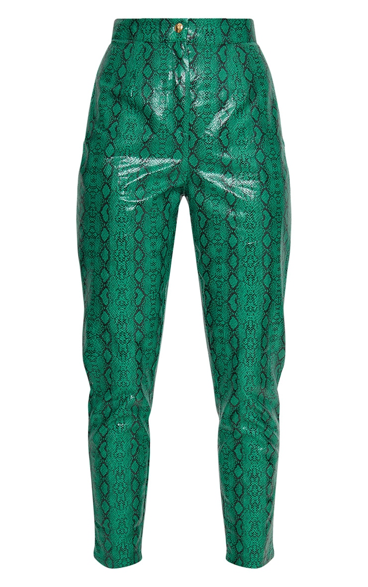 Jade Green Faux Leather Snake Print Slim Leg Pants 4