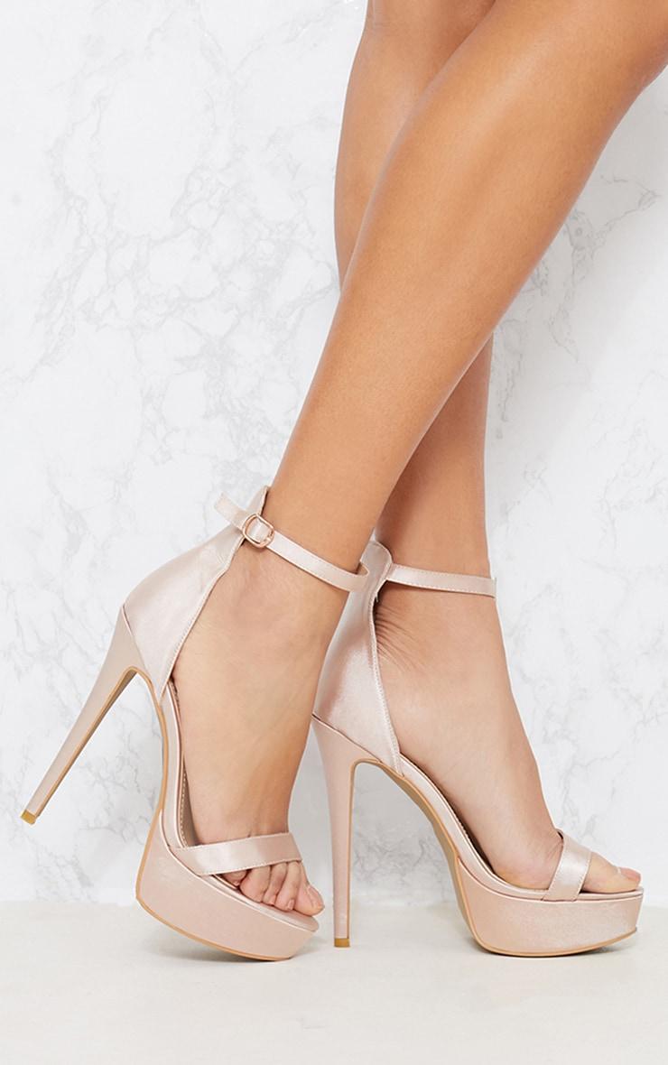 Nude Satin Platform Sandals 1
