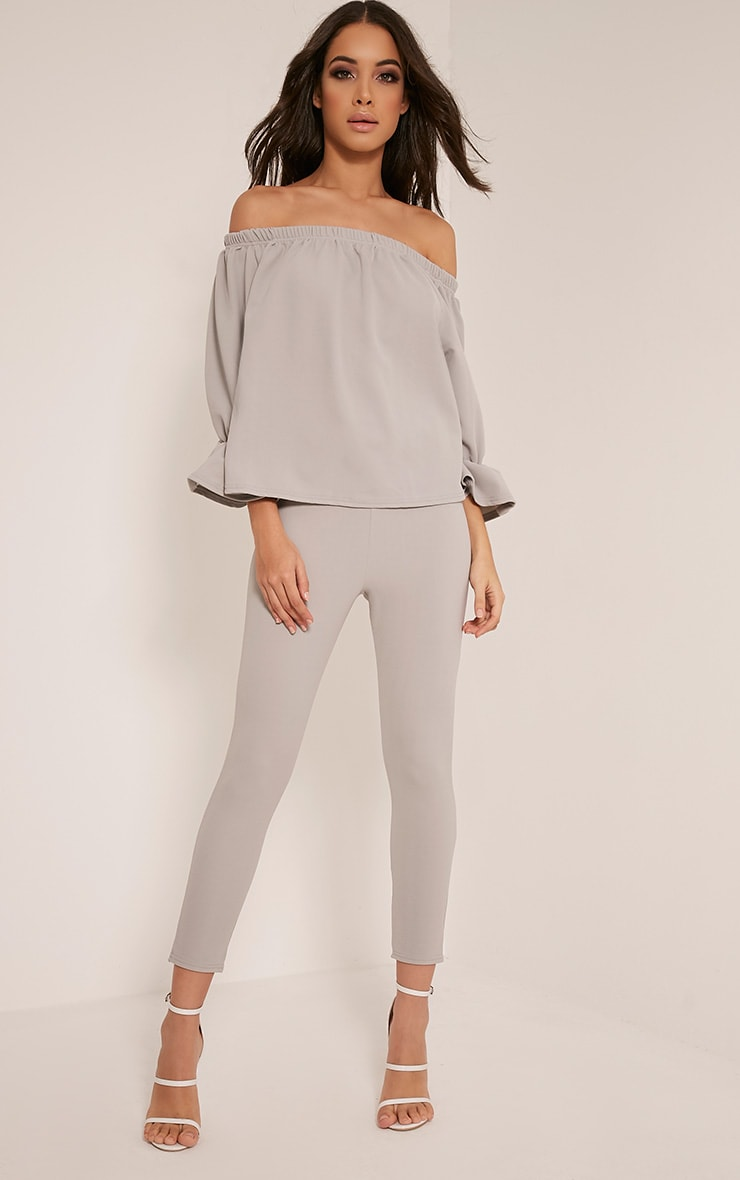 Evalyn Grey Bardot Frill Sleeve Top 5