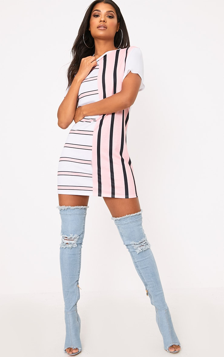 Pink Contrast Stripe T Shirt Dress 4