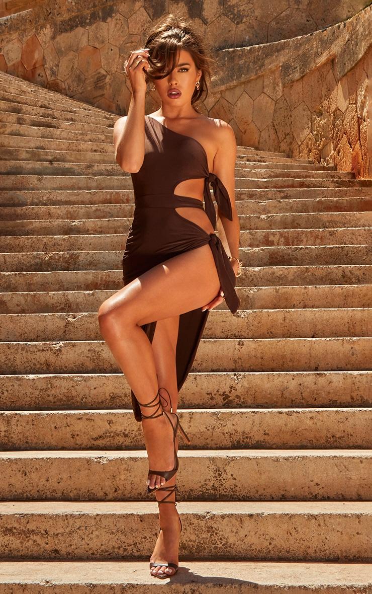Chocolate One Shoulder Tie Side Midi Dress image 1