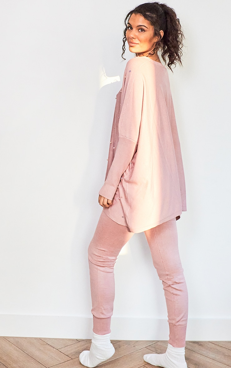 Pink Knitted Oversized Pearl Lounge Set 2