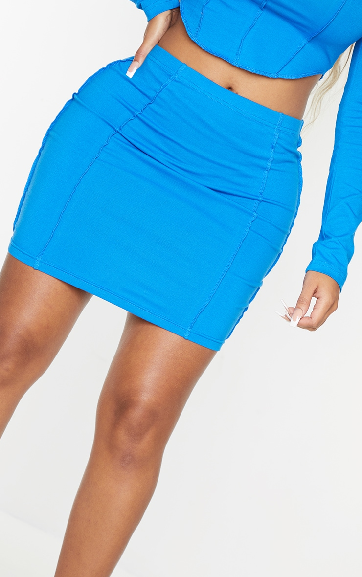 Recycled Shape Bright Blue Cotton Overlock Detail Bodycon Skirt 5