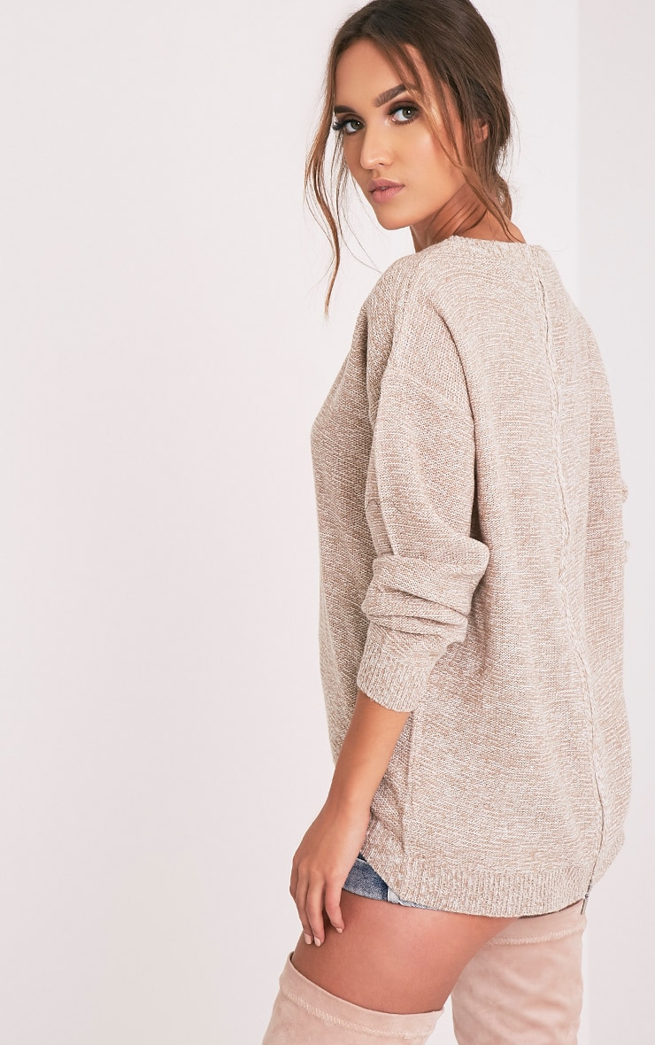 Hadiya Beige Zip Back Knitted Jumper 4