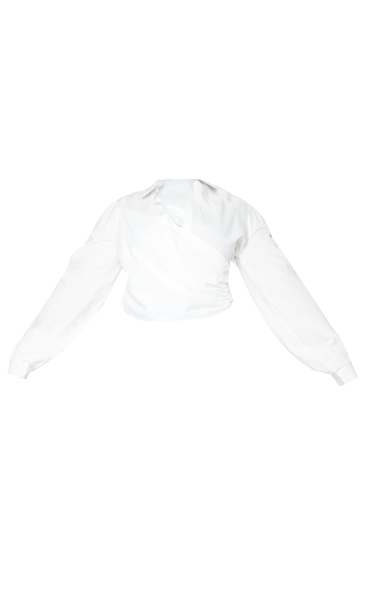 Plus White Woven Wrap Front Cropped Blouse 5