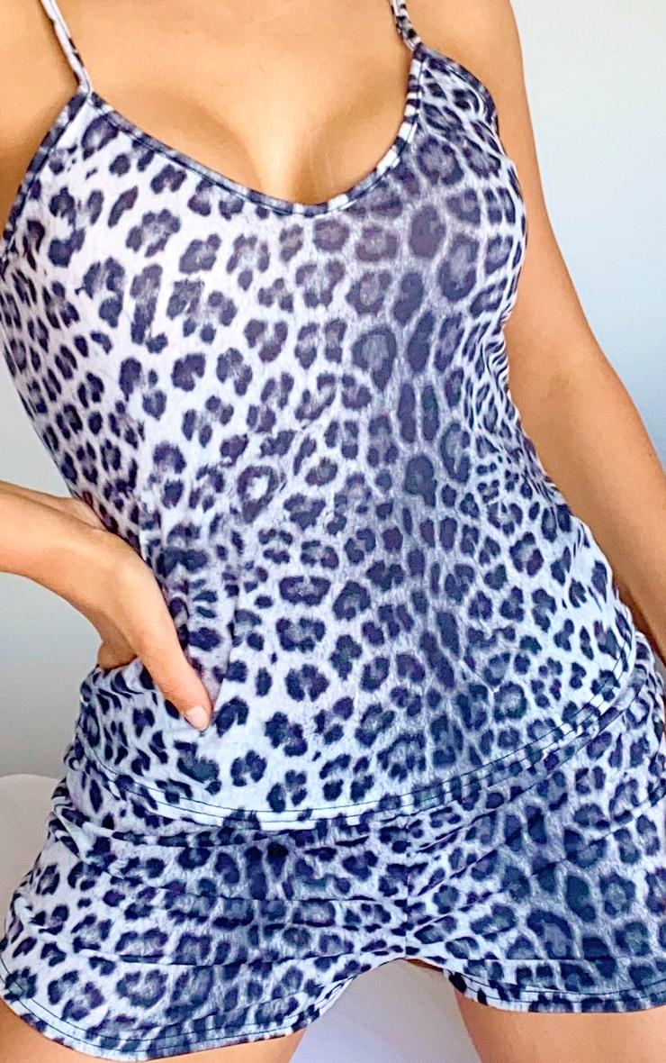 Grey Leopard Cami & Shorts PJ Set 4