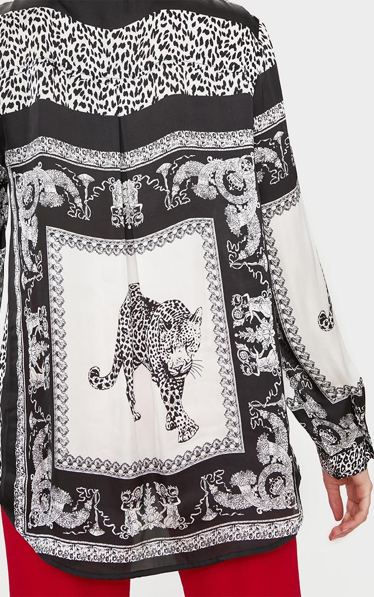 Monochrome Leopard Print Satin Button Front Shirt 5