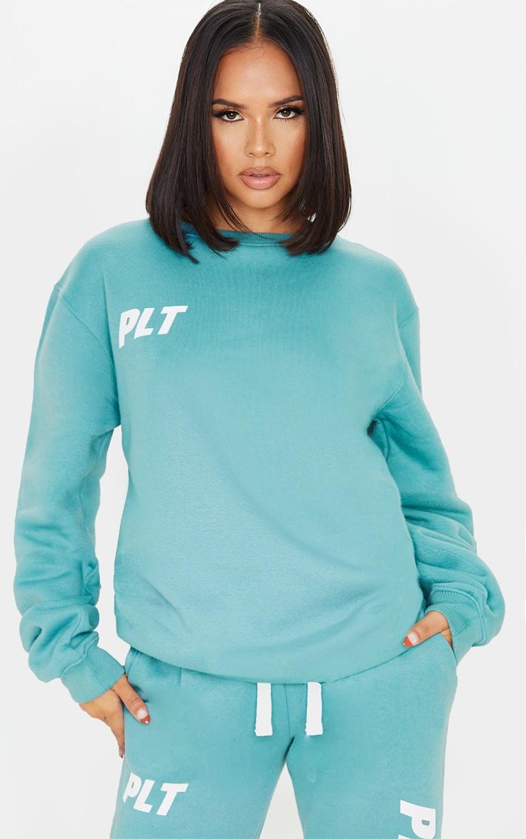 PRETTYLITTLETHING Dusty Turquoise New Season Slogan Oversized Sweater 1