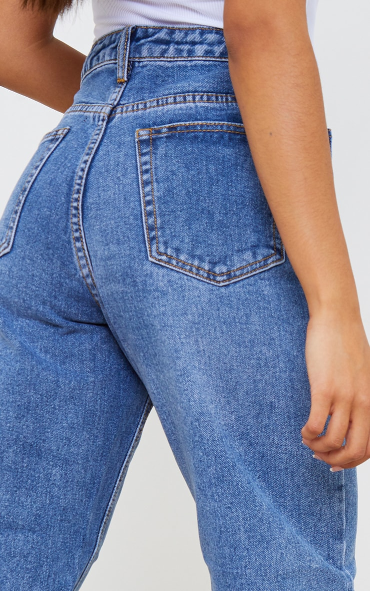 PRETTYLITTLETHING Petite Mid Wash Mom Jeans 4