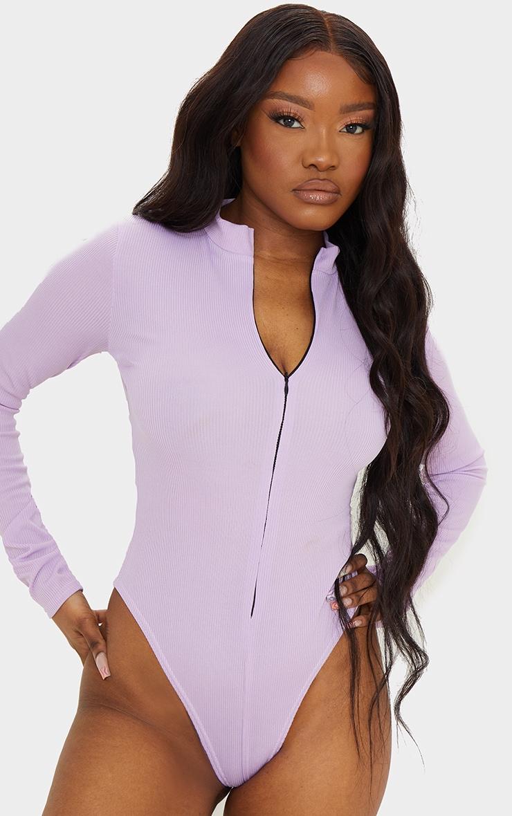 Lilac  Rib Zip Up Long Sleeve Bodysuit 2