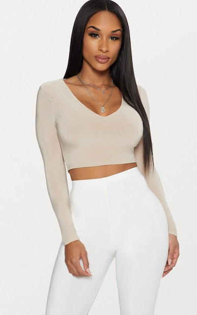 Stone Second Skin Long Sleeve V Neck Crop Top b062f0bc3