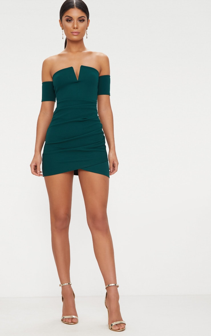 Emerald Green Bardot Wrap Front Bodycon Dress 4