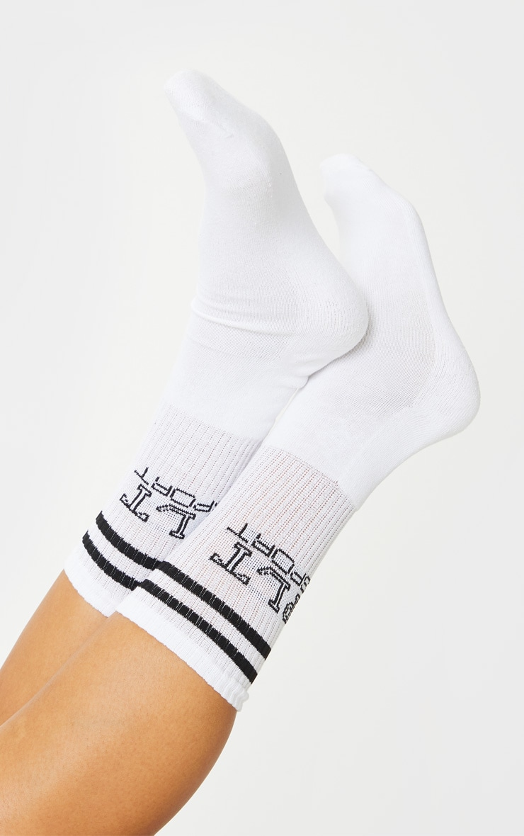 PRETTYLITTLETHING White Sport Socks 2