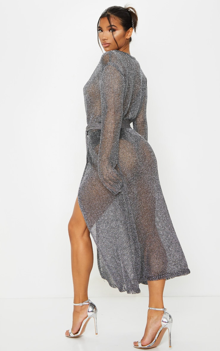 Silver Belted Metallic Knitted Dress 2