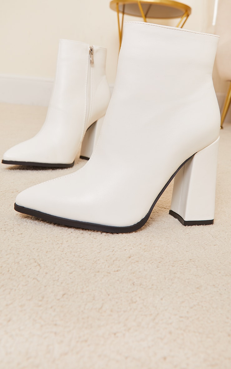 White Wide Fit Point Block Heel Ankle Boots 4