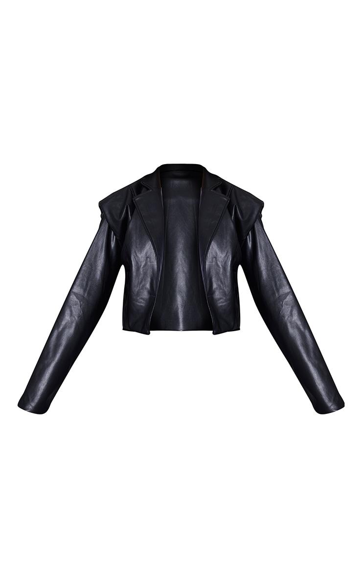 Black Faux Leather Extreme Padded Shoulder Jacket 5