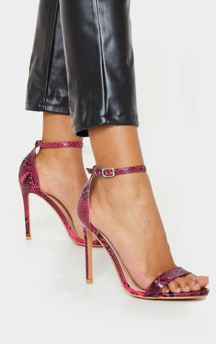 Clover Pink Snake Strap Heeled Sandals 1