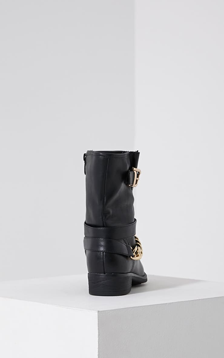 Janet Black Chain Ankle Boots 5
