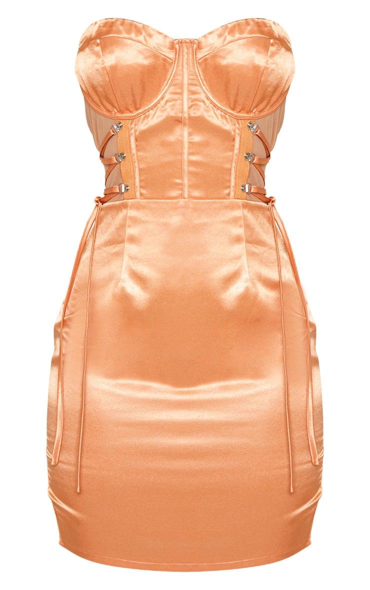 Chestnut Bandeau Corset Detail Mesh Insert Satin Bodycon Dress 3