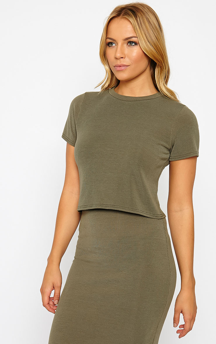 Basic Khaki Short Sleeve Crop Top 4