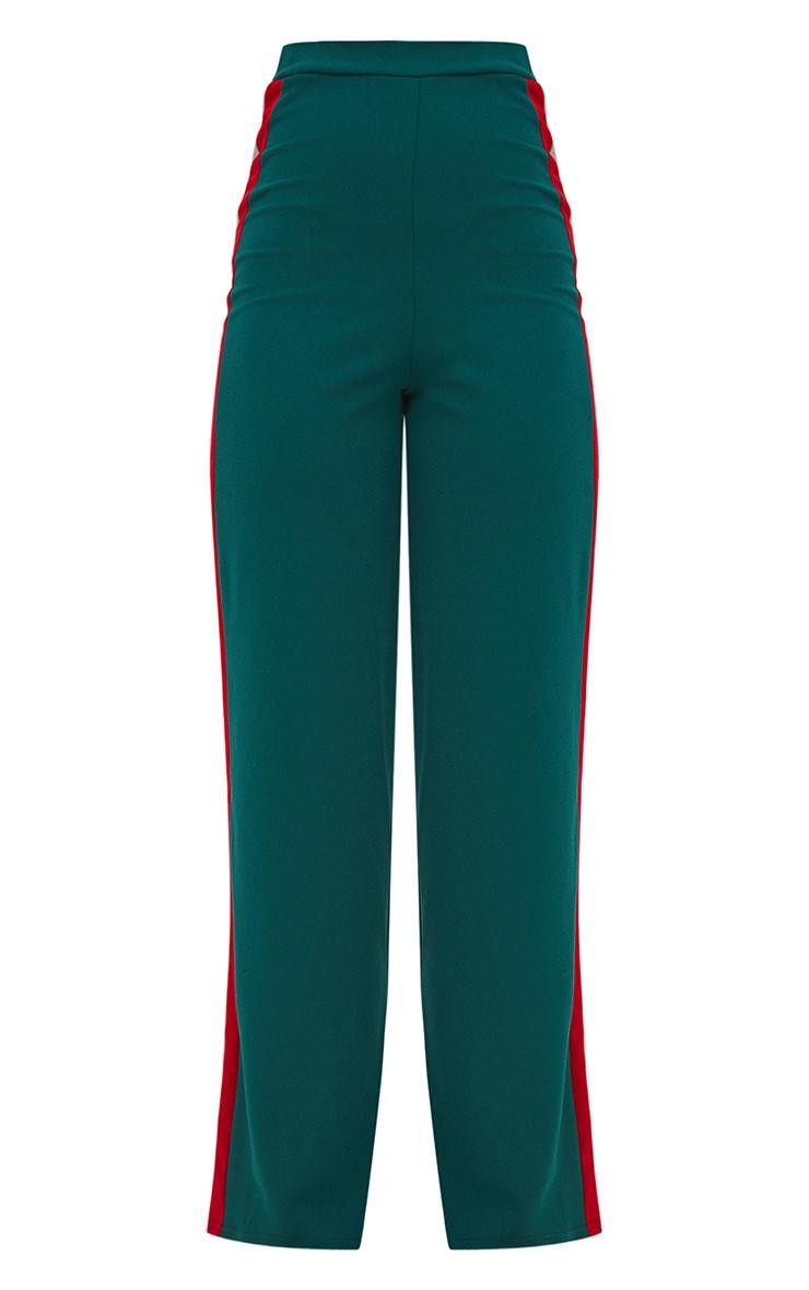 Emerald Green Sport Side Stripe Wide Leg Trousers 3