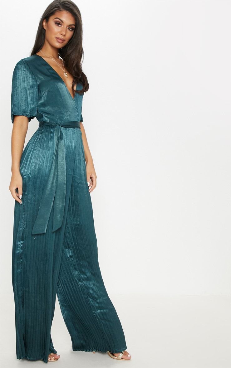 Emerald Green Satin Pleated Wide Leg Jumpsuit 4