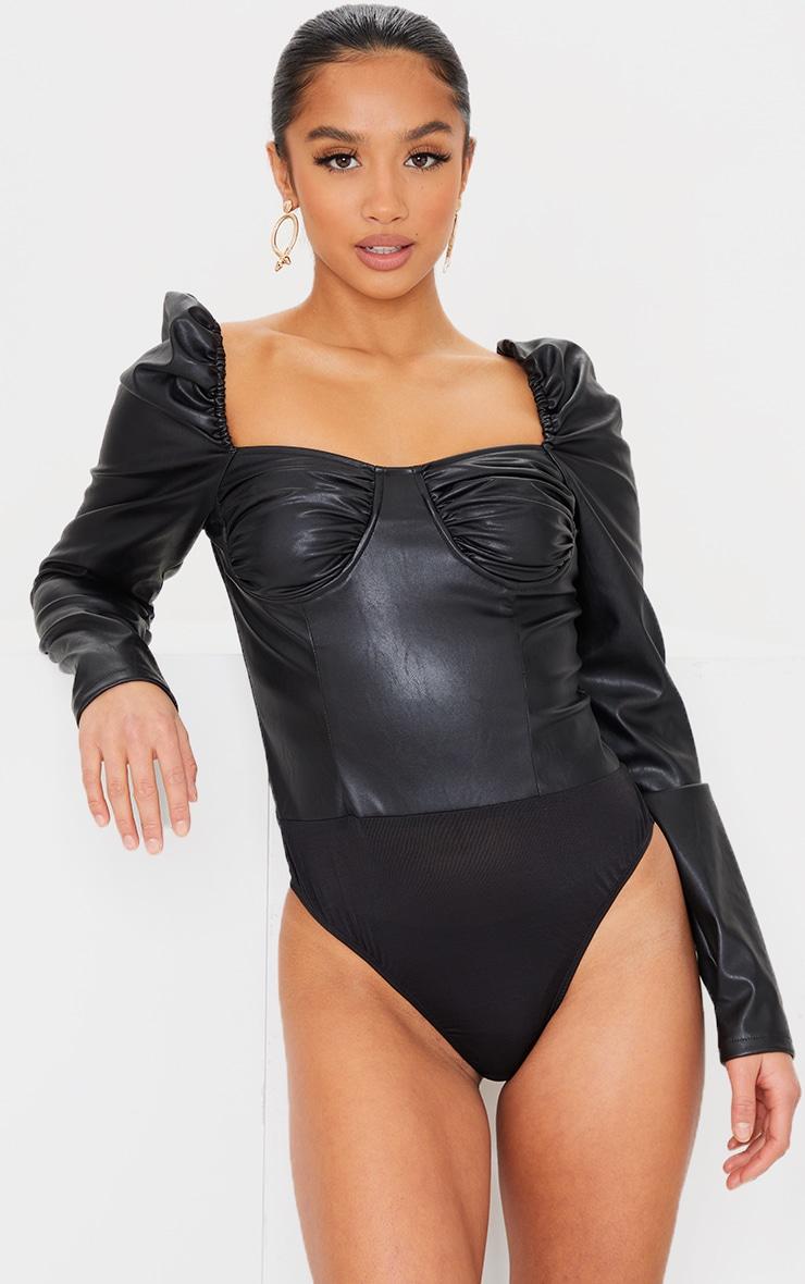 Petite Black PU Ruched Corset Bodysuit 2