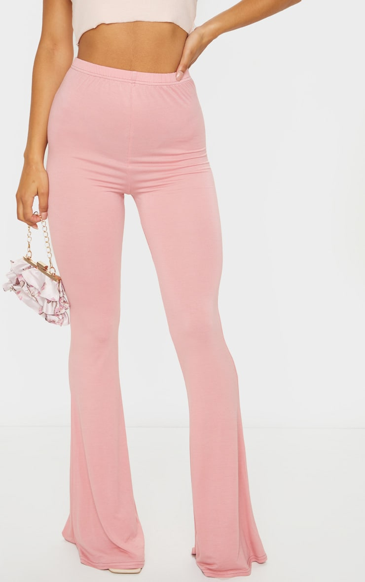 Baby Pink Jersey Flared Trousers 2