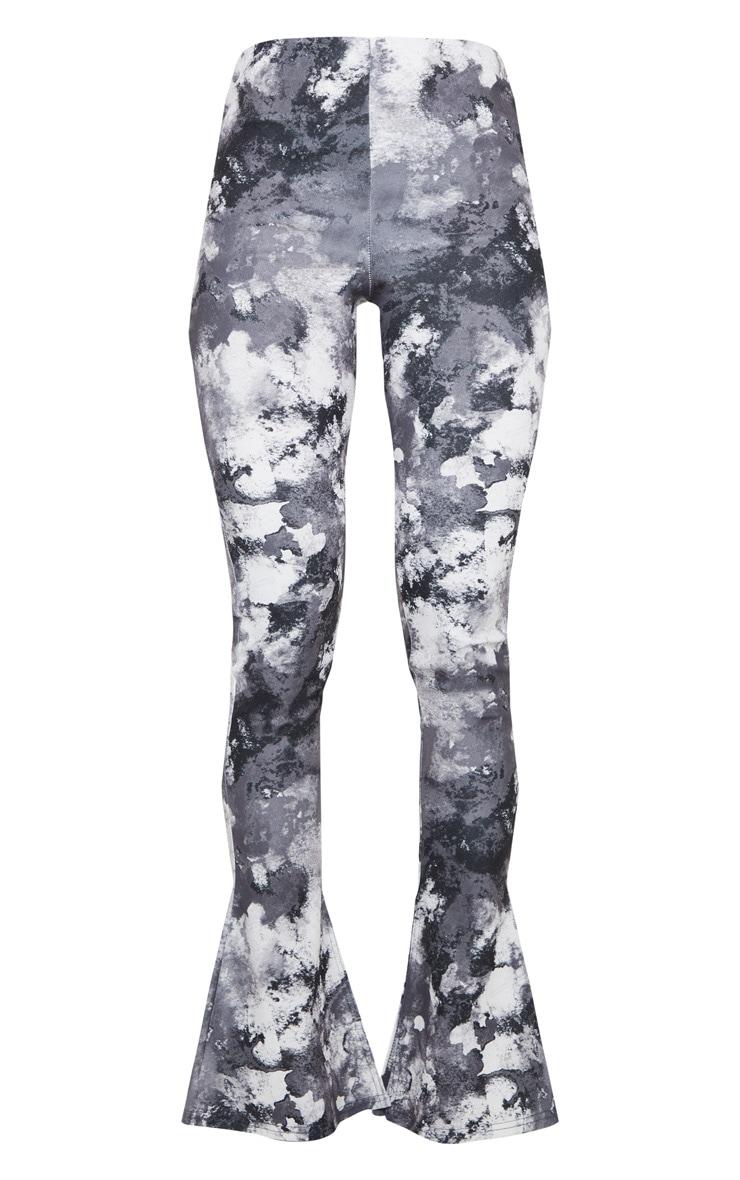 Black Tie Dye Kick Flare Split Hem Detail Pants 5
