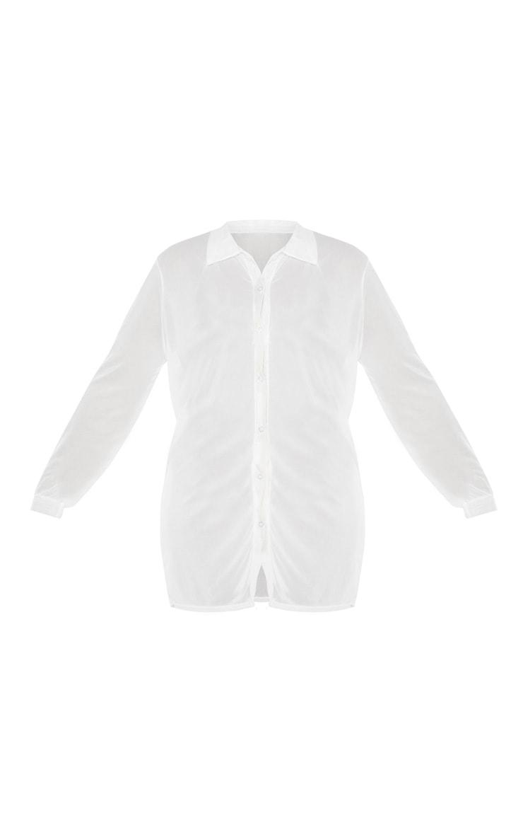Plus White Sheer Beach Shirt 3