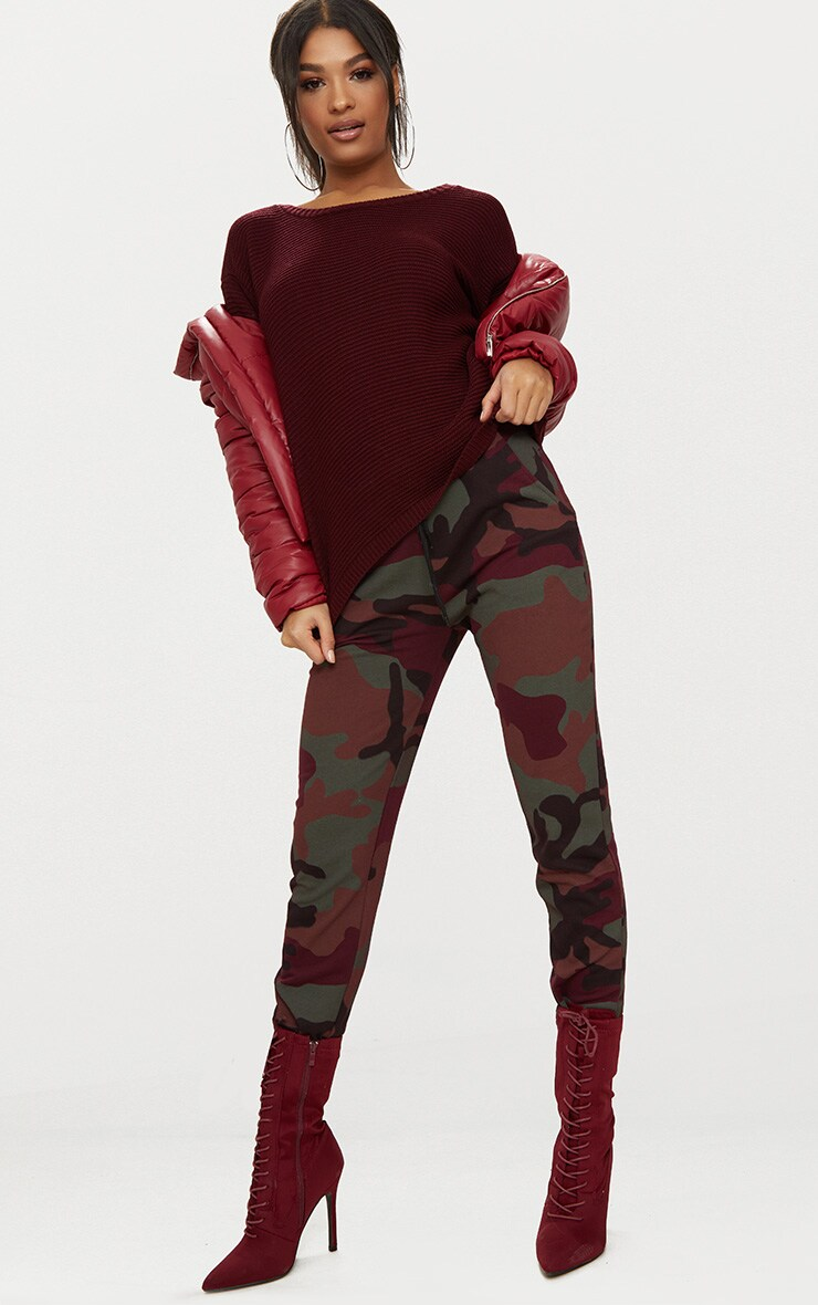Burgundy Rib Crop Jumper 4