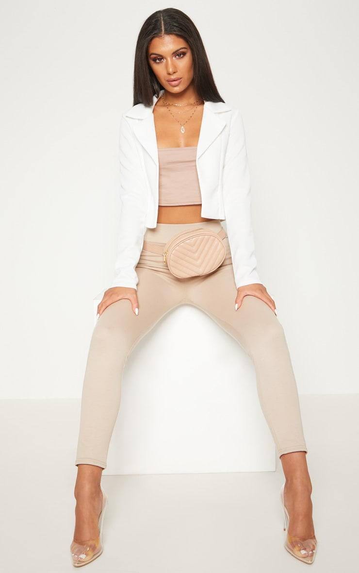 White Scuba Cropped Blazer 1