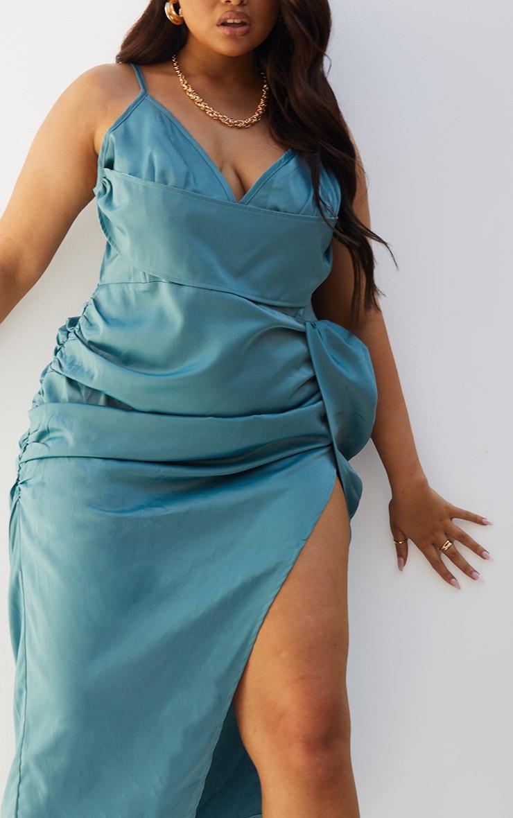 Plus Teal Satin Boned Layered Ruched Side Split Dress 4