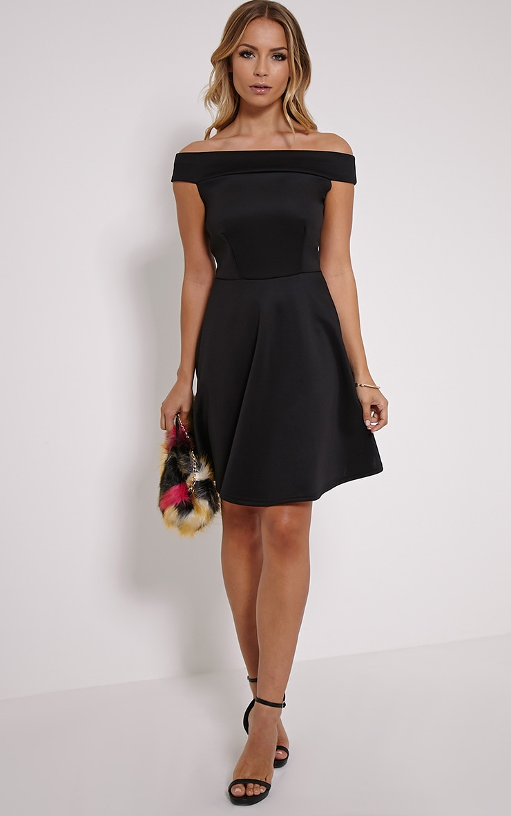 Mona Black Bardot Skater Dress 3