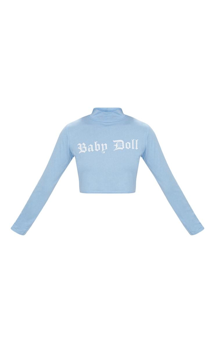 Pastel Blue Baby Doll Slogan High Neck Crop Top  3