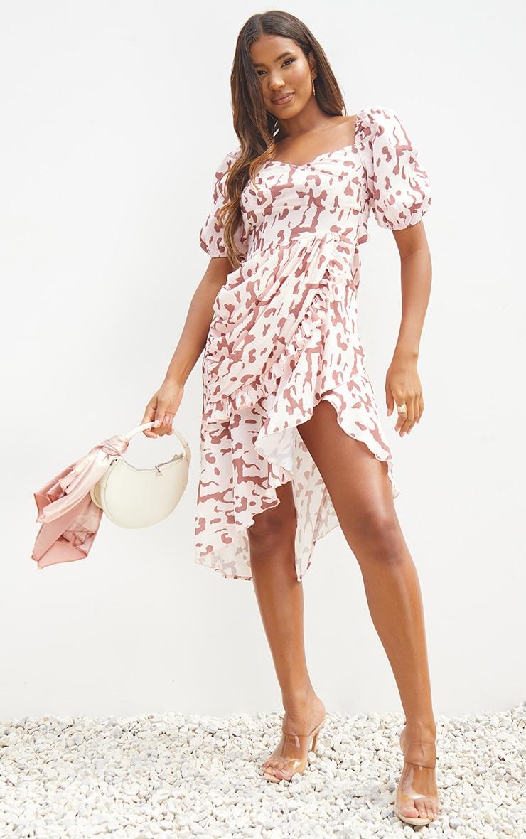 Pink Leopard Print Puff Sleeve Draped Wrap Midi Dress 1