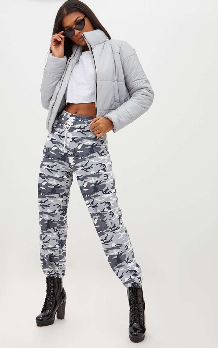 Grey High Shine Cropped Puffer Jacket