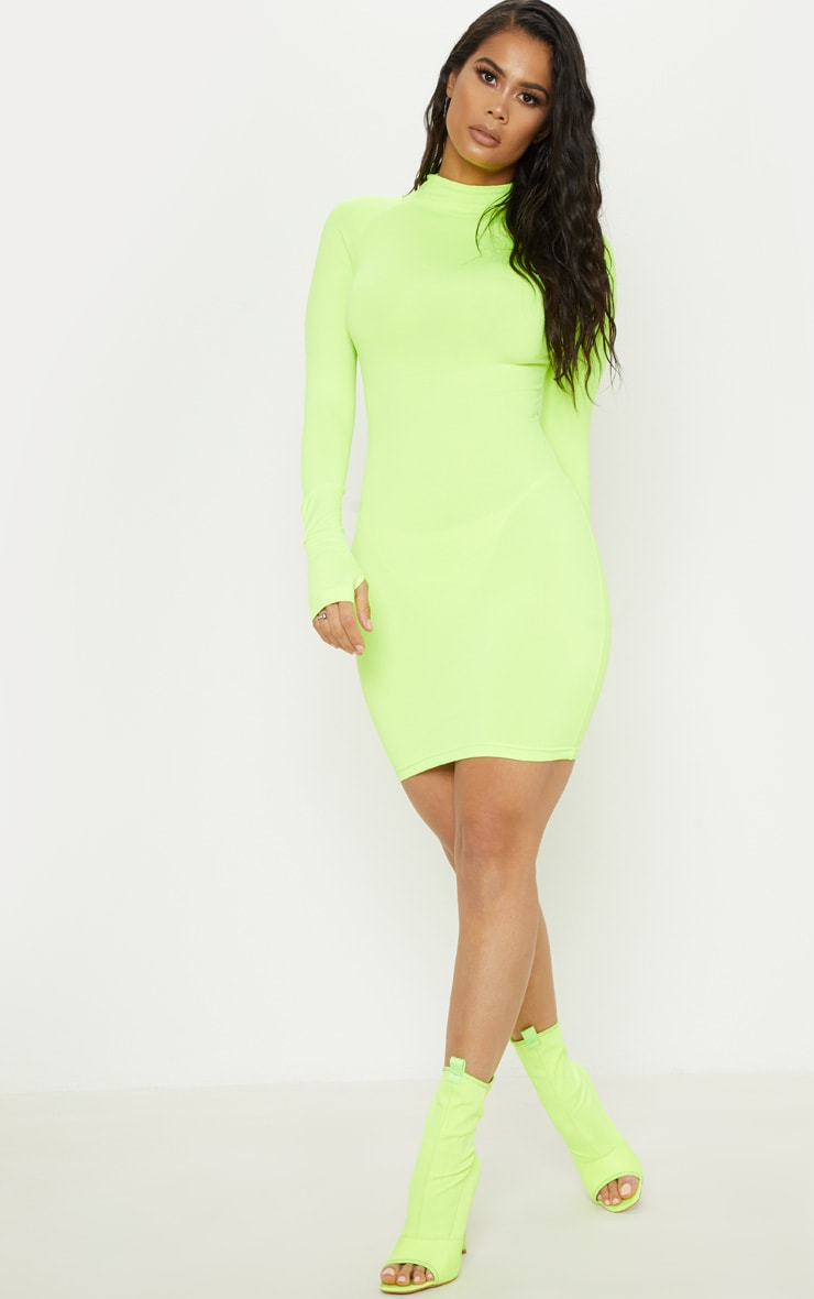 Lime Slinky Long Sleeve Zip Up Bodycon Dress 4