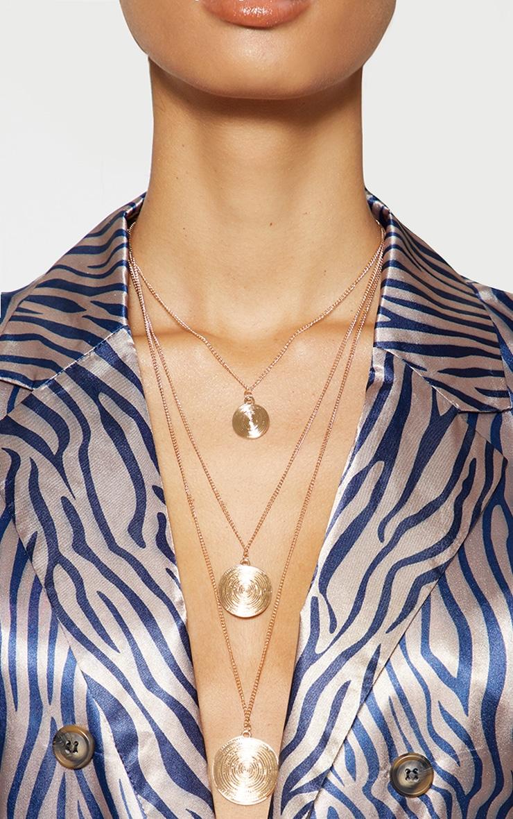 Gold Circular Pendant Drop Necklace 2