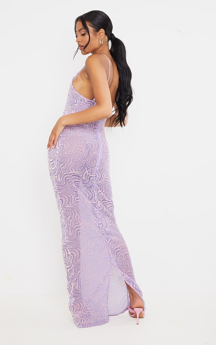 Tall Purple Burnt Out Strappy Maxi 2