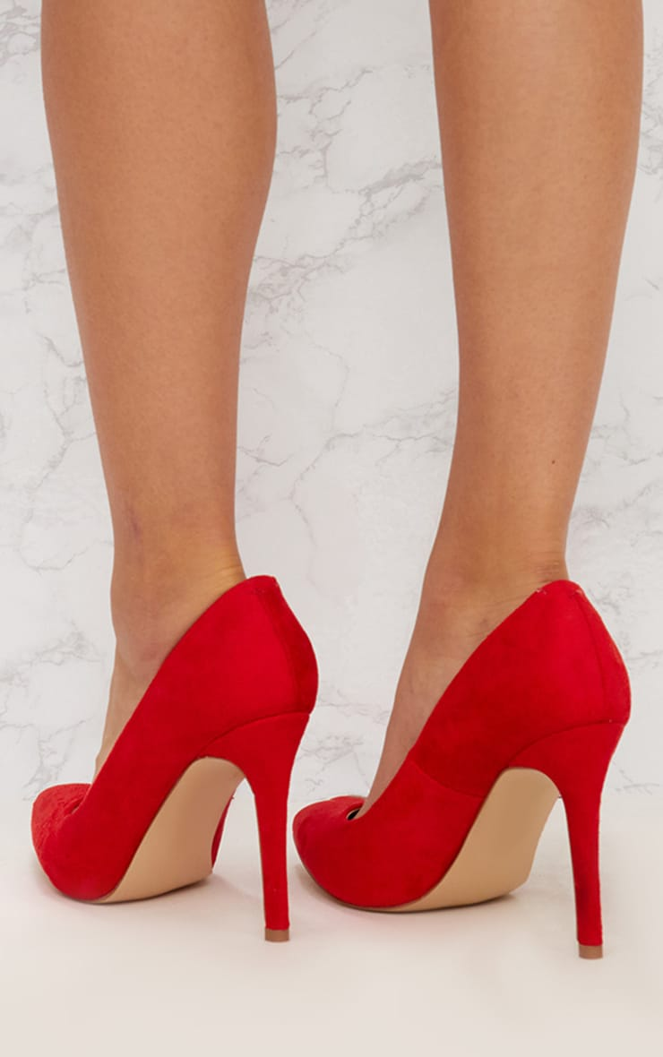Red Faux Suede Pointed Heeled Court Shoe 4