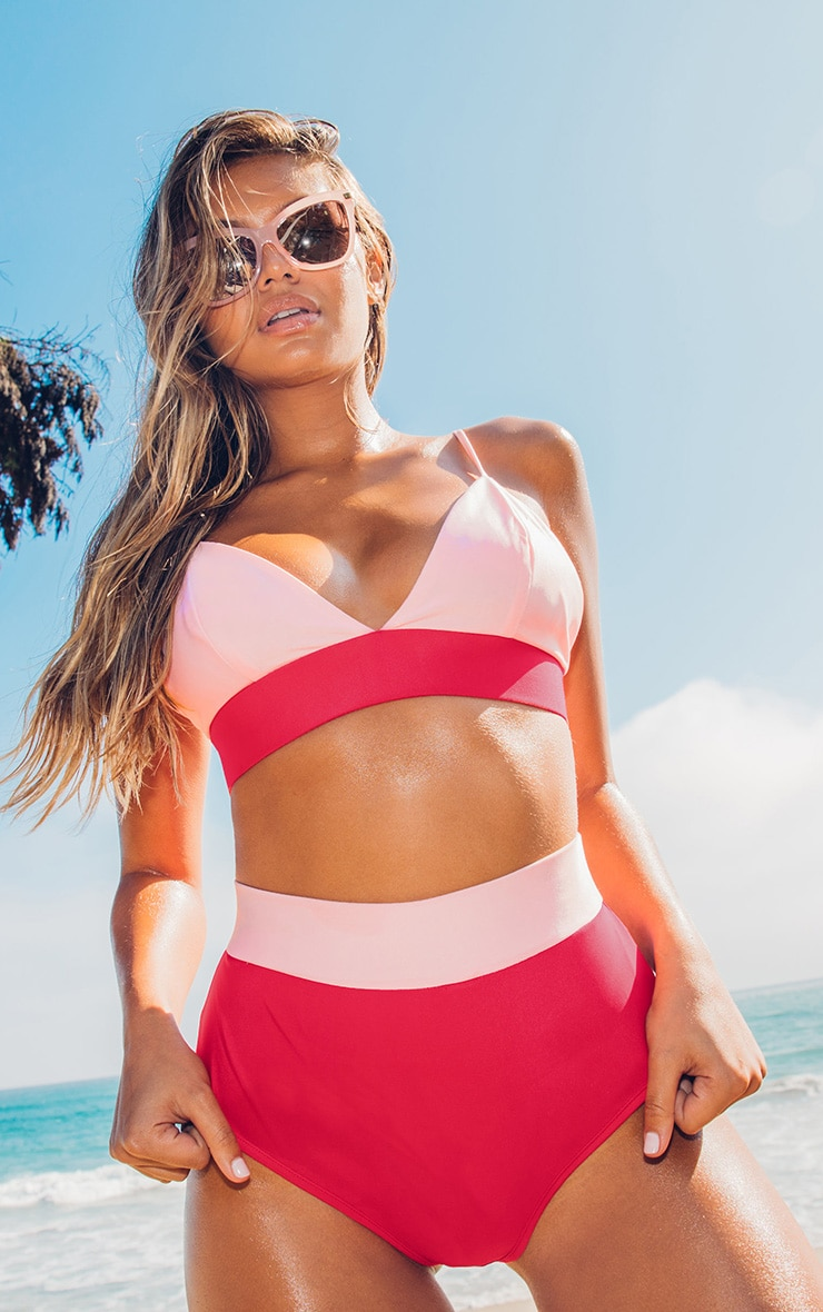 Red and Pink Scuba Contrast Beach Co-ord Top