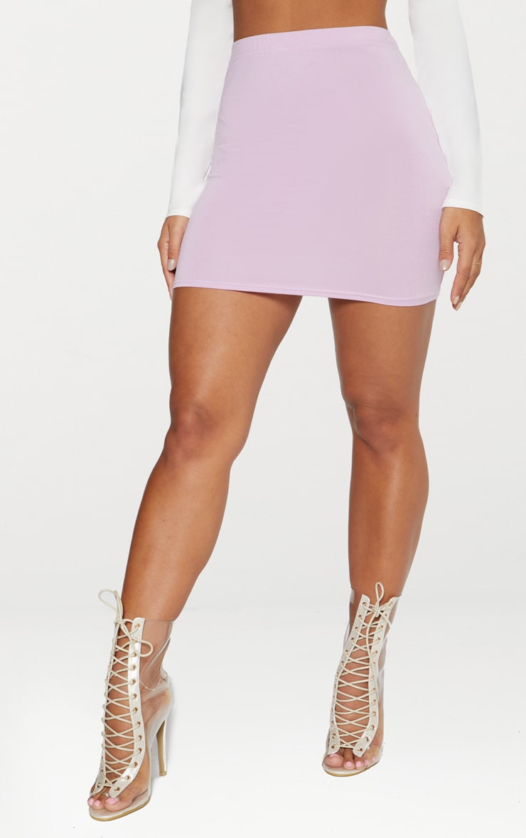 Basic Lilac Jersey Mini Skirt 2