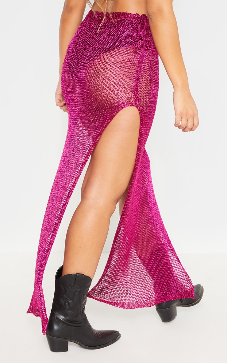 Hot Pink Metallic Knitted Maxi Skirt 4