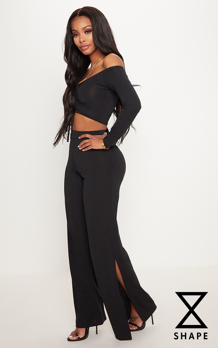 Shape Black Slinky Extreme Wide Leg Trousers 1