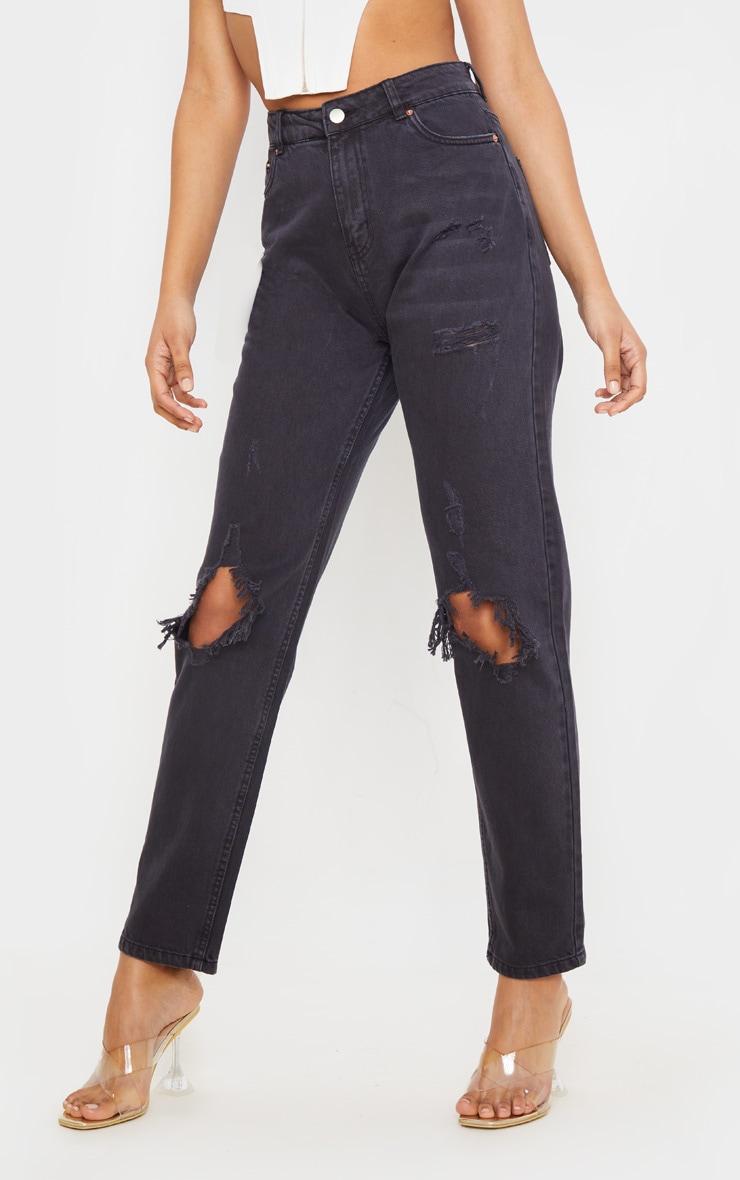 Black Distressed Knee Rip Straight Leg Jeans 2